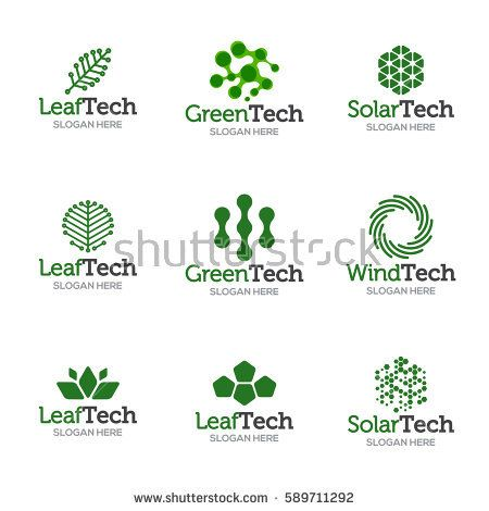 Collection of logo templates. Vector abstract shapes for green ...