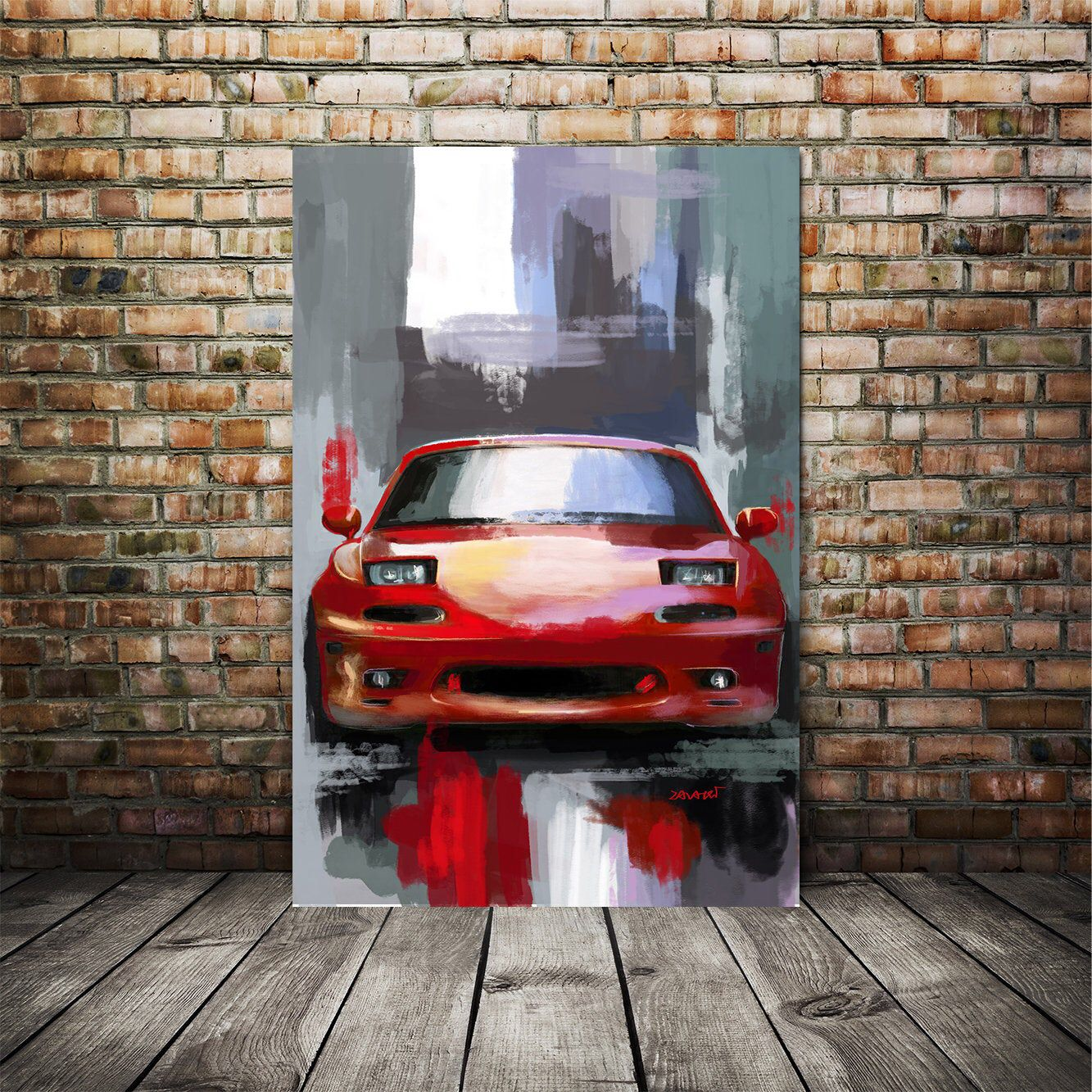 Mazda Miata 1995 Mazda Art Print Automotive Painting Large Etsy In 2020 Car Art Painting Automotive Art