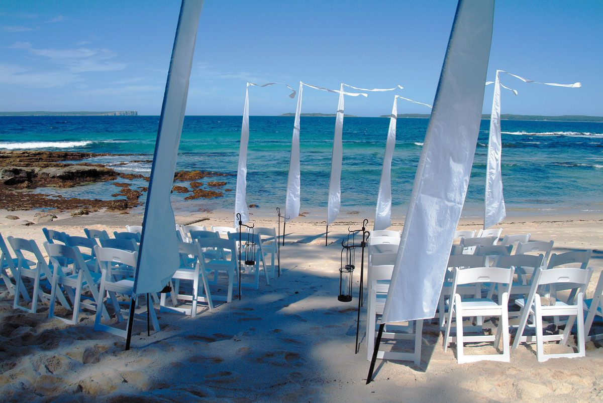 Bali wedding venues on the beach  BEACH CEREMONY Simple yet chic this all white setting looks