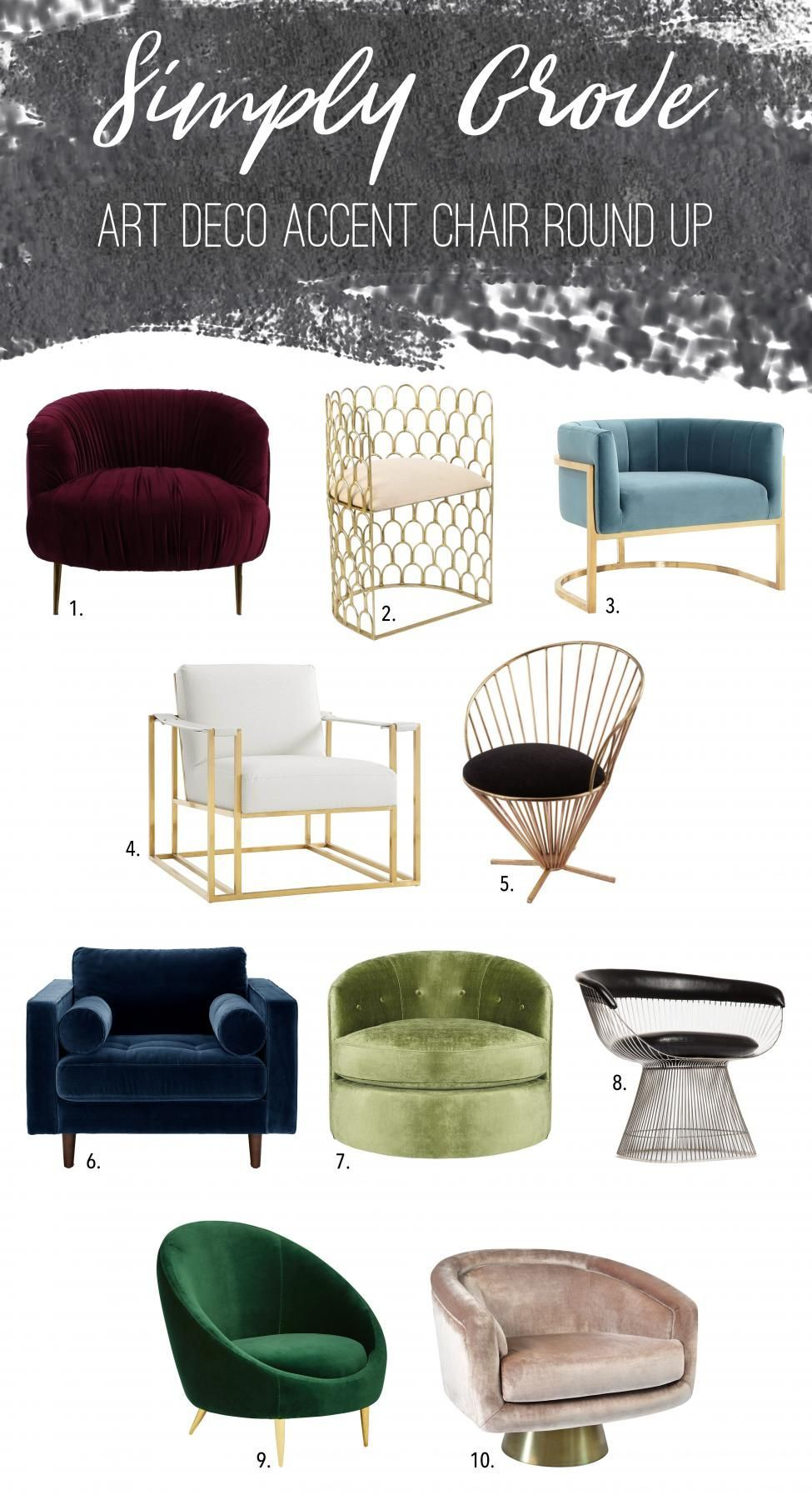 Art Deco Accent Chair Round Up Via Simply Grove Artdecointerior