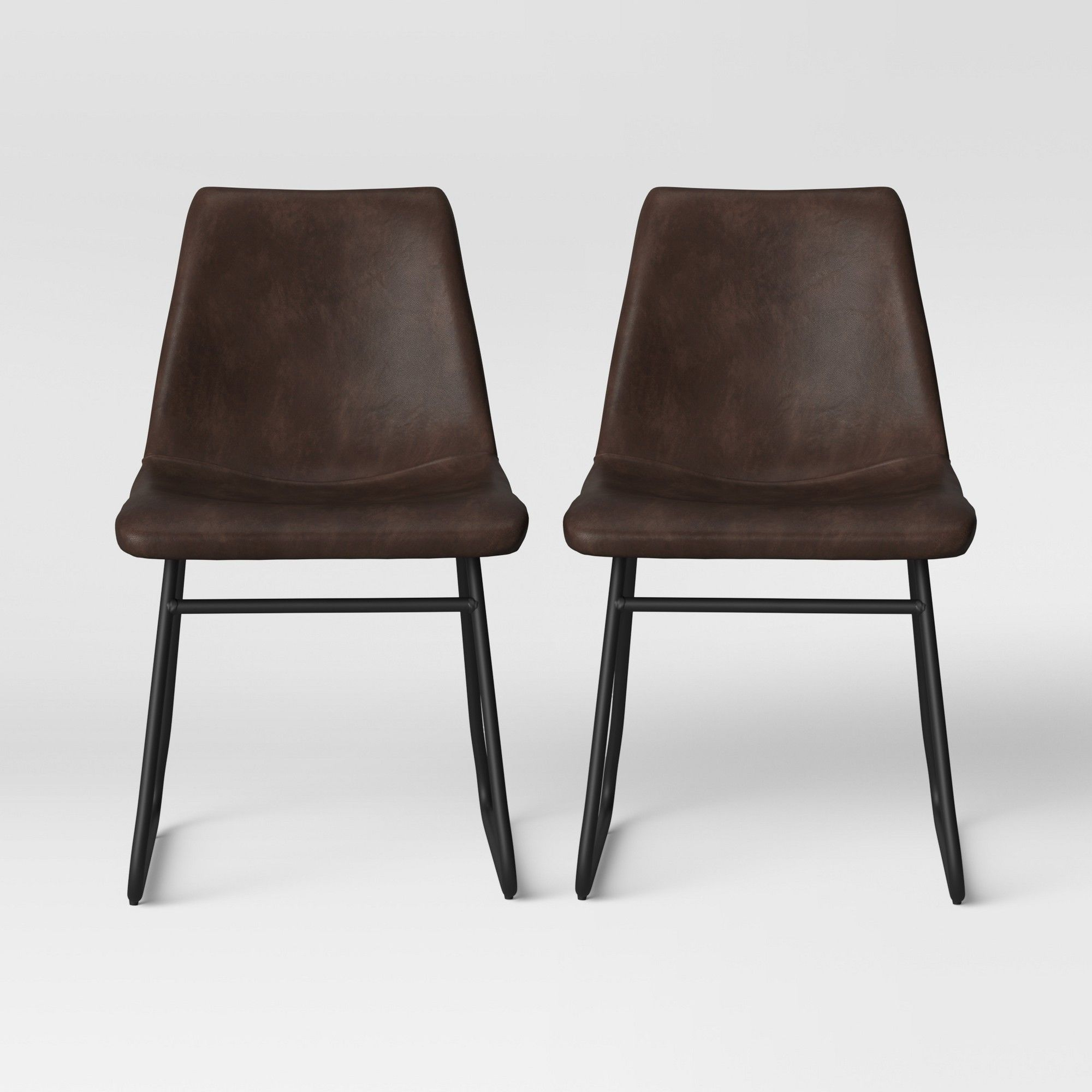 2pk Bowden Faux Leather And Metal Dining Chair With Black