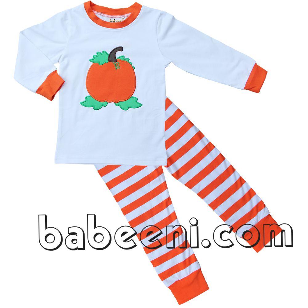 pumpkin applique boy loungewear, Nice pumpkin applique boy loungewear