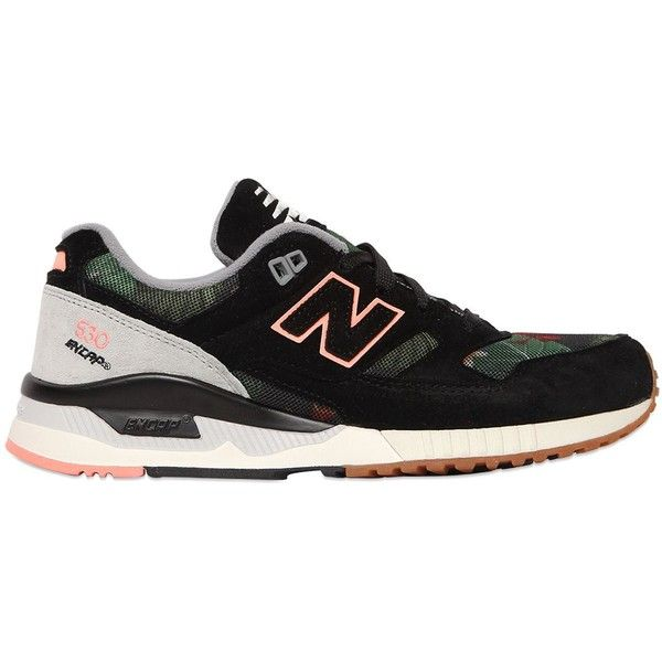 New Balance Women 530 Limit.ed Suede & Mesh Sneakers (€135) ❤ liked on Polyvore featuring shoes, sneakers, black, black mesh shoes, new balance trainers, black sneakers, print shoes and suede sneakers