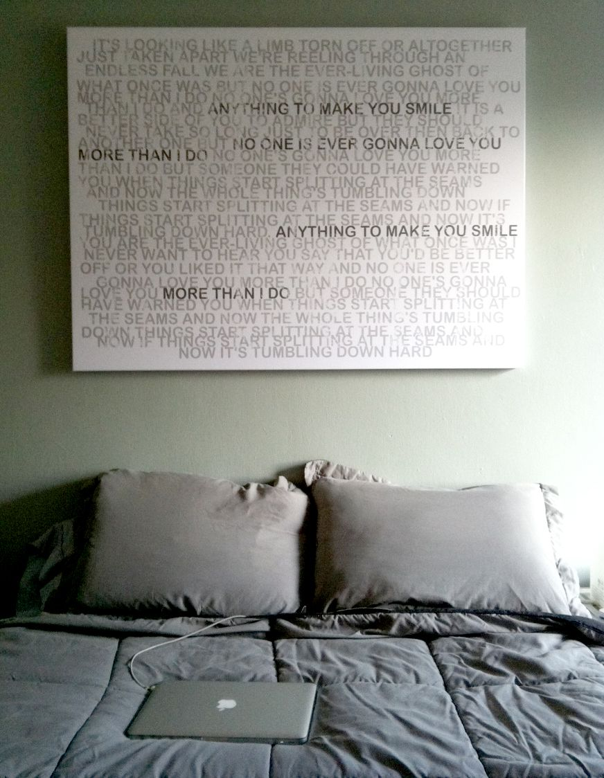 at a loss for what to hang over the bed a custom canvas with the lyrics to your favorite song or your wedding vows is a creative idea - Ly Design Your Bedroom