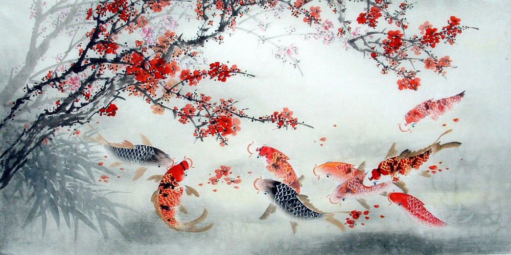 Chinese fish blossom painting by jiang yanmei chinese for Chinese koi fish painting