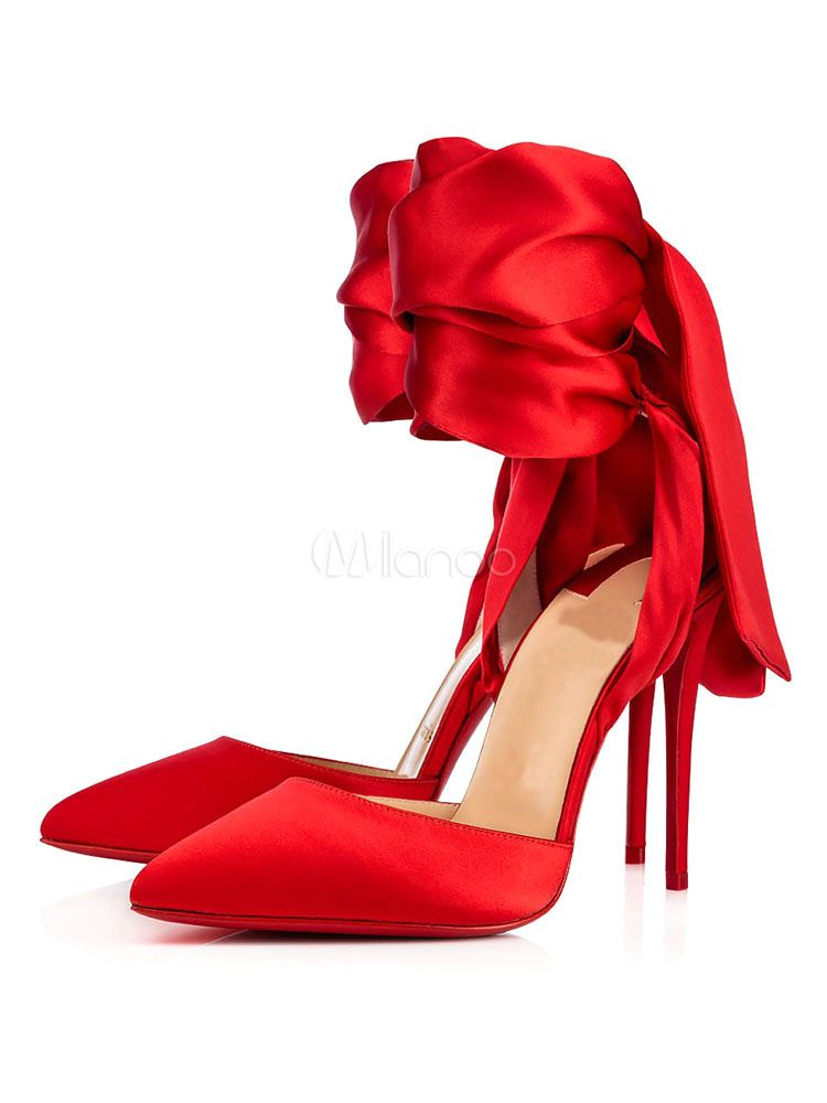 7e15a205048 Red Evening Shoes Satin Pointed Toe Bow Lace Up High Heels For Women ...