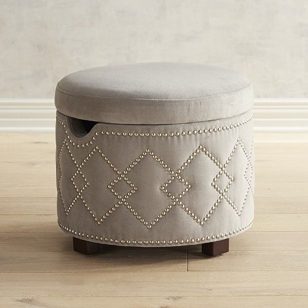 Pier 1 Imports Collins Gray Storage Ottoman With Nailhead Trim ($200) ❤  Liked On