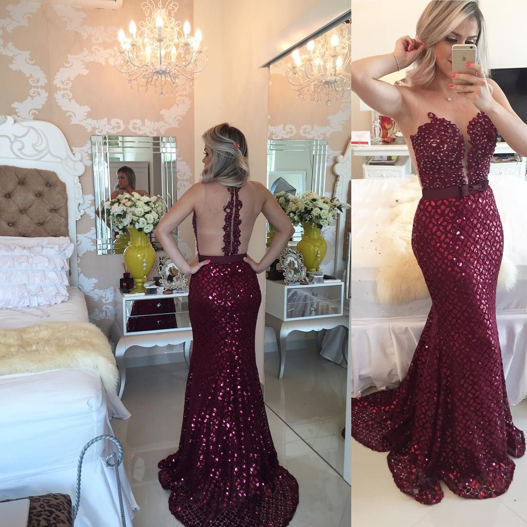 Barbara Melo · Lace Dress · Wine · Fashion Dresses · Free Shipping ·  Beautiful Evening Gowns 8ec378b3e7cb