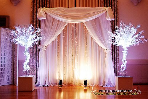 Fabric Backdrop Crystal Trees With Uplights Great For Altar And Or Behind Head Cake Table