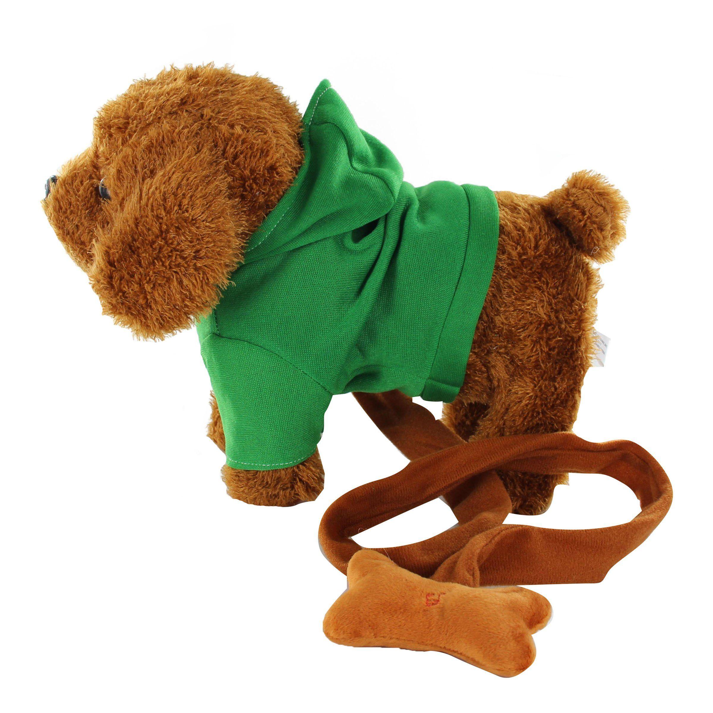 Electronic Pet Dog With Green Hoodie Plush Toys Singing Walking