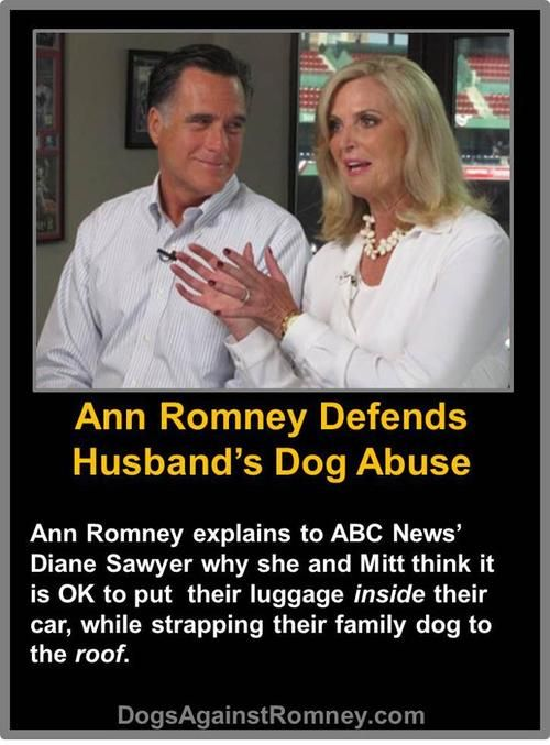 open-the-cages:  She literally does not have a single brain cell. Is that why he married her.   BREAKING: In this video, Ann Romney defends her husband's dog abuse to ABC News' Diane Sawyer. VIDEO HERE: http://goo.gl/xS7Sa