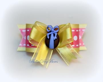 7/8 L - Chocolate Easter Egg Dog Bow ~ Yellow/Pink by BellasDogBows for $8.99