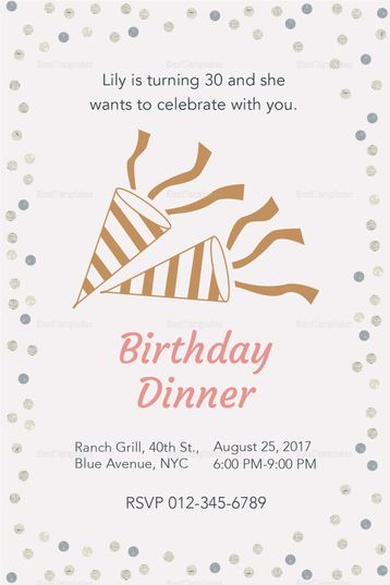 Birthday Dinner Invitation Template Invitation Card Templates