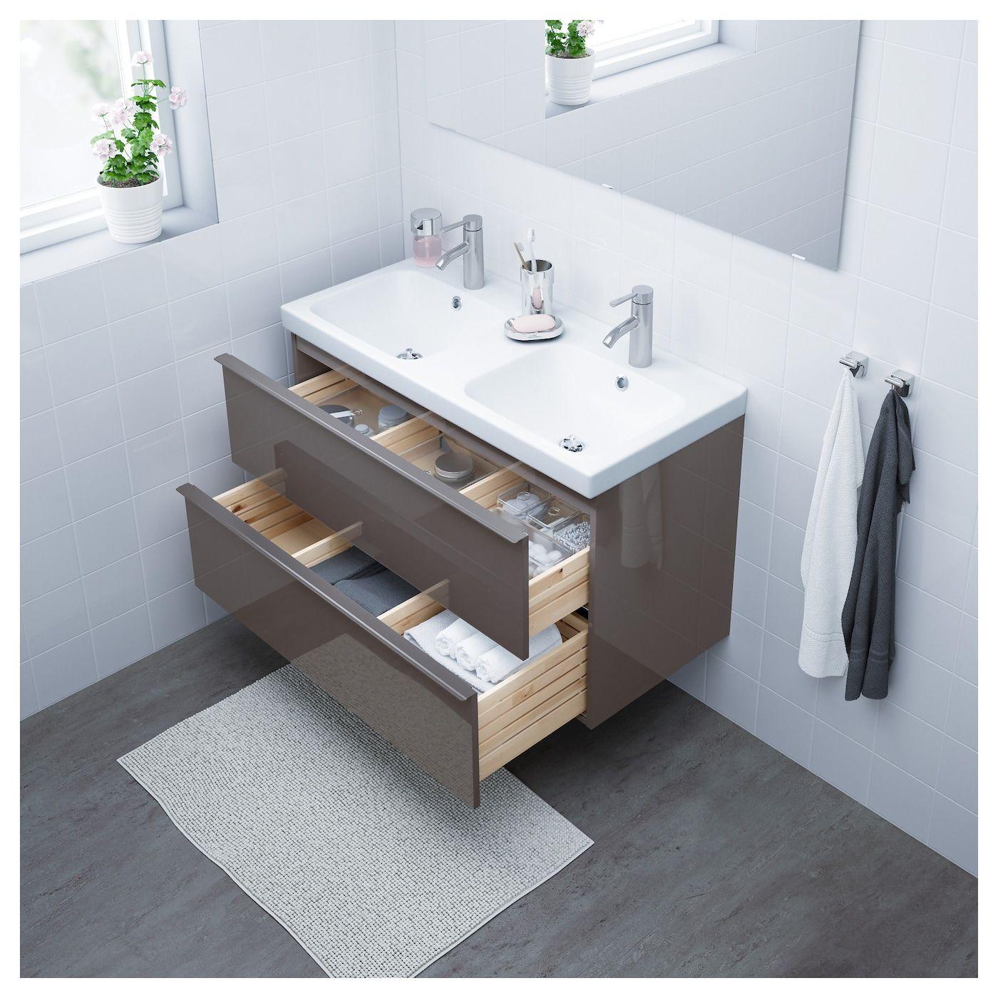 Godmorgon Odensvik Bathroom Vanity High Gloss Gray Dalskar Faucet 103x49x64 Cm Shop Ikea Ikea Ikea Godmorgon Bathroom Sink Cabinets Sink Cabinet
