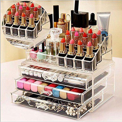 Home and Garden Products Boite de rangement pour cosmétiques, maquillage et bijoux, à tiroirs en ...