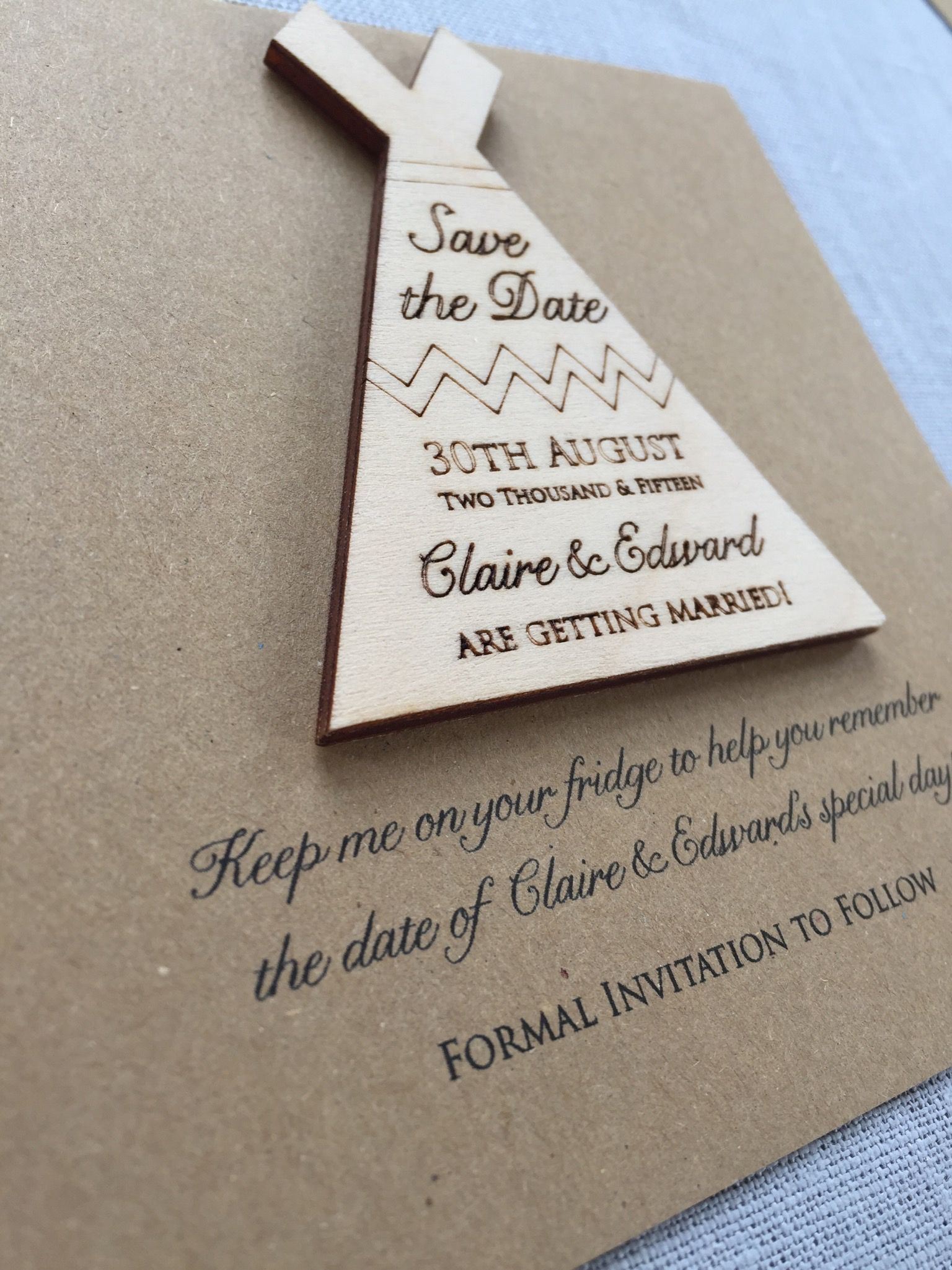 Wooden Tipi Save The Date Magnet