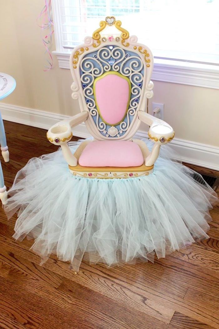 Royal throne from a princess pink cinderella birthday for Diy princess room ideas