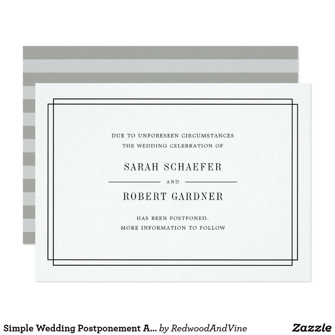 Simple Wedding Postponement Announcement Card Zazzle Com Wedding Cancellation Simple Weddings Simple Wedding Invitations