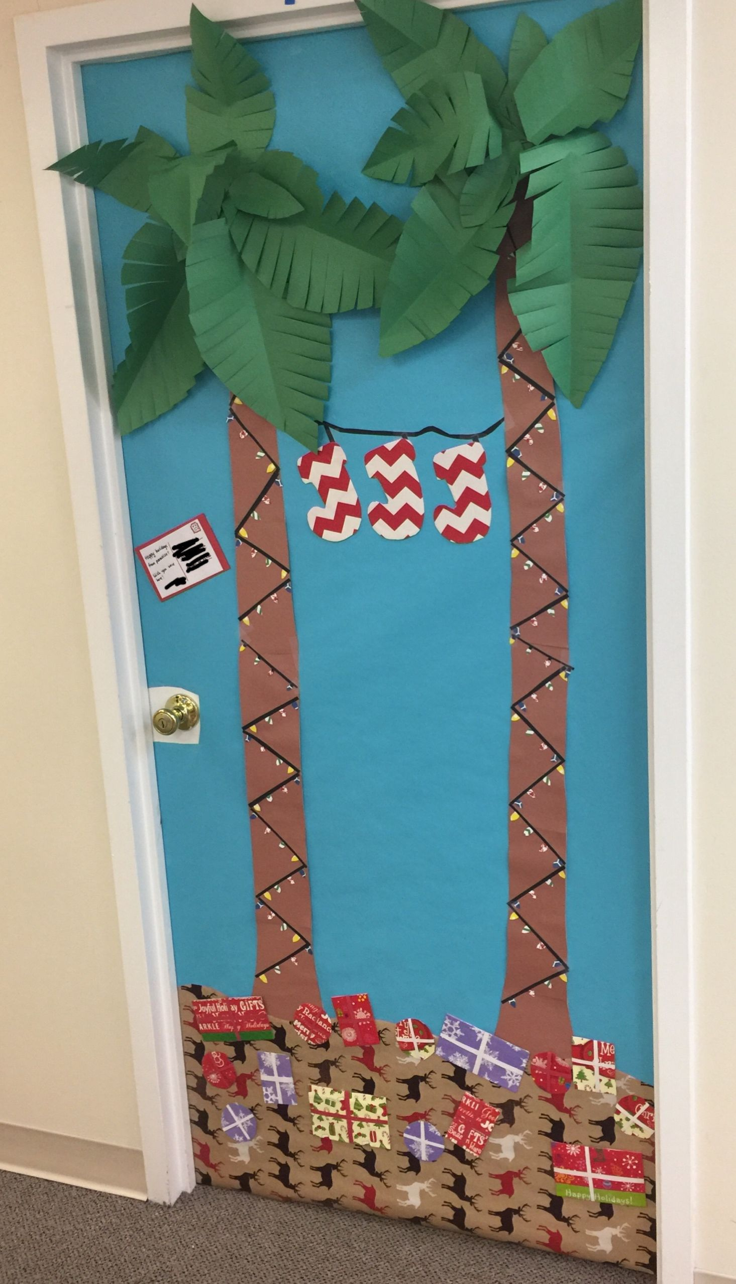 Christmas in Paradise theme for my office's 2016 Door ...