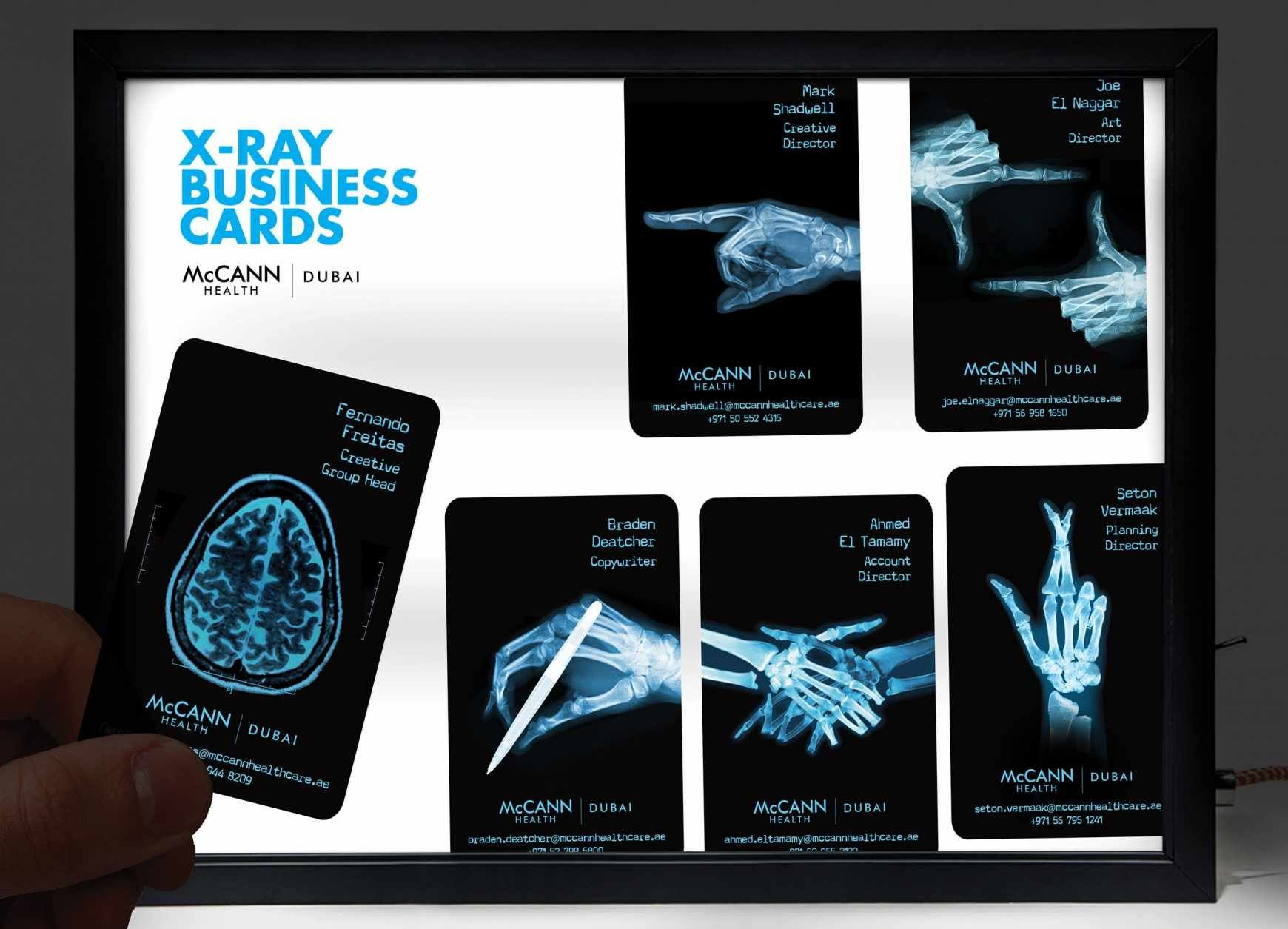 McCann Health Dubai X Ray Business Cards