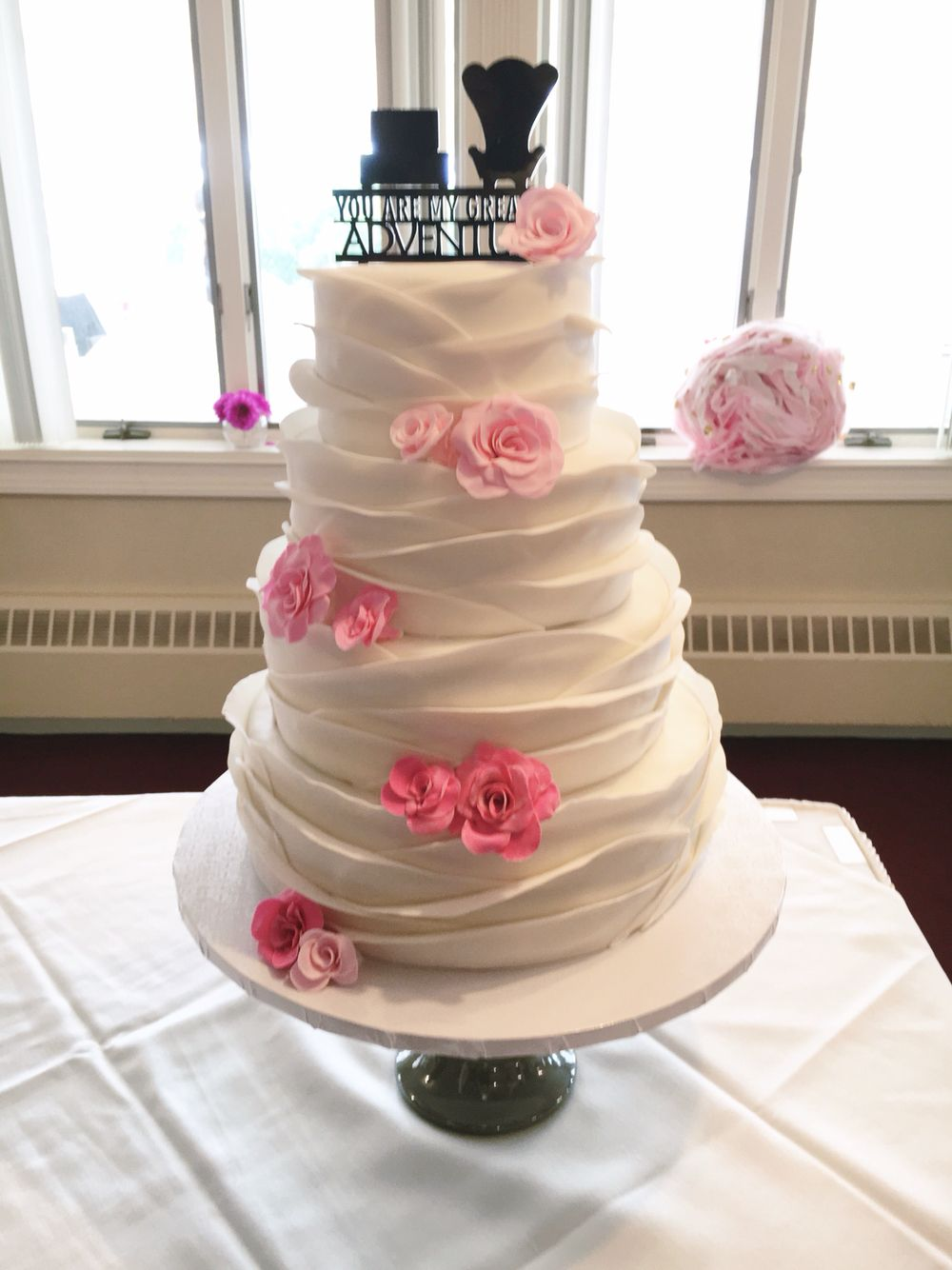White Ruffle Wedding Cake With Ombre Pink Sugar Roses By Amy Hart