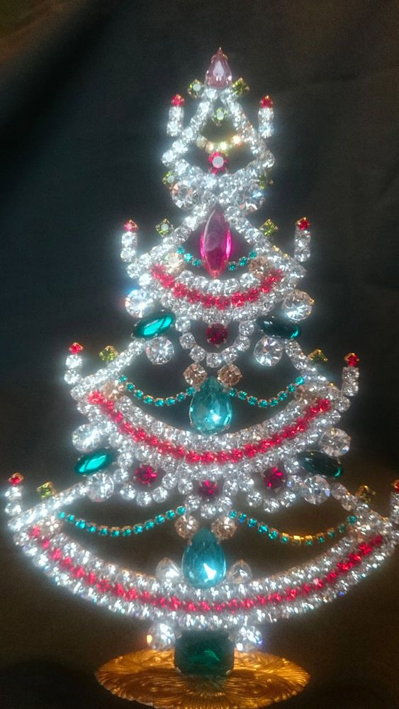 Czech Decorative Free Standing Rhinestone Bejeweled Filigree Christmas Tree  | eBay - Czech Decorative Free Standing Rhinestone Bejeweled & Filigree