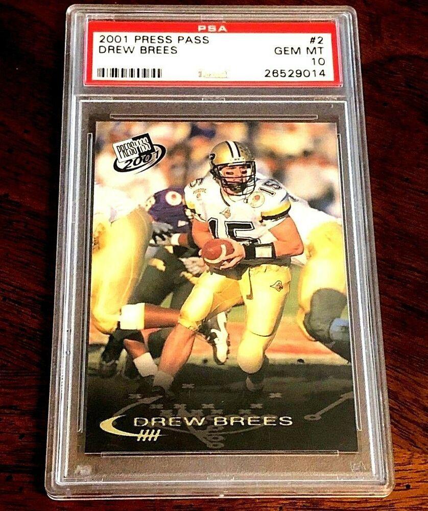 2001 press pass rookie 2 drew brees rc psa 10 gem