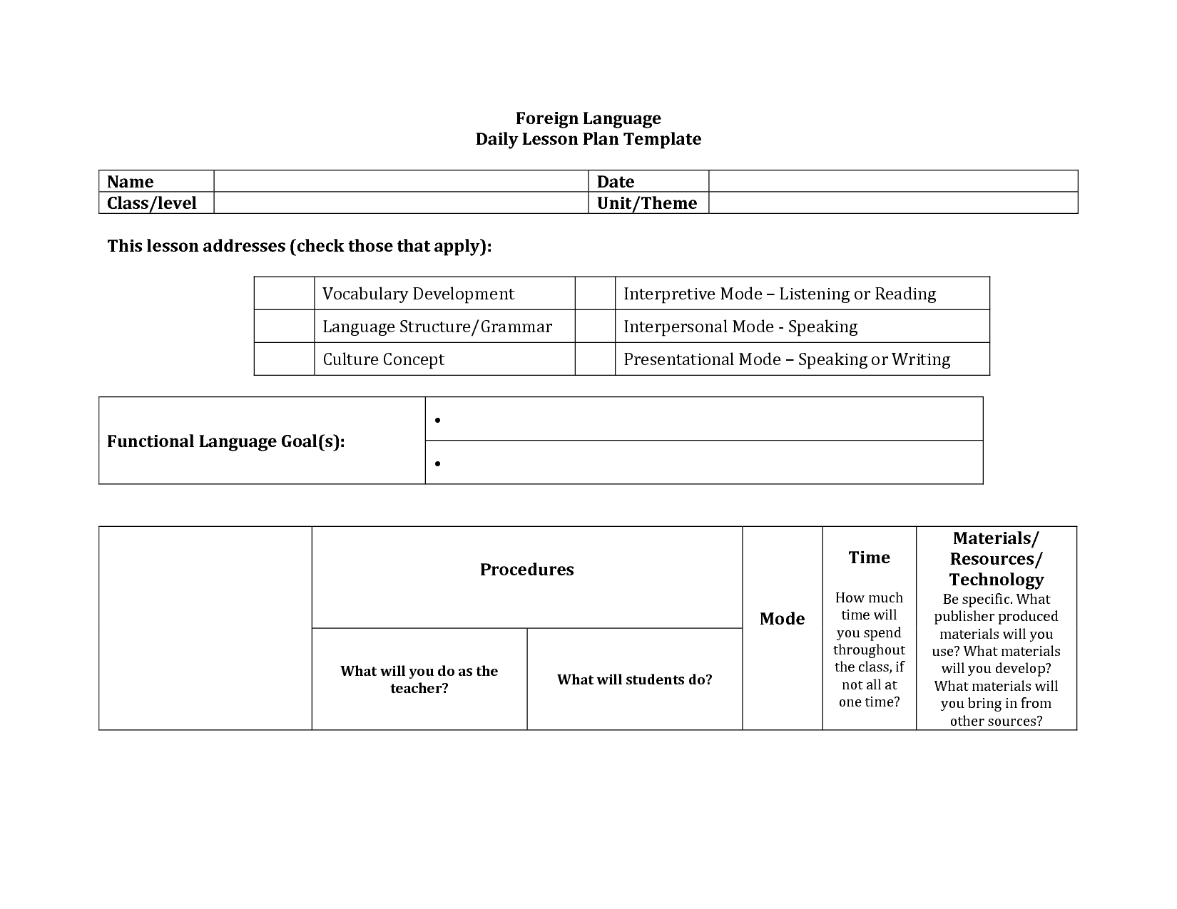 Foreign language lesson plan format google search for World language lesson plan template