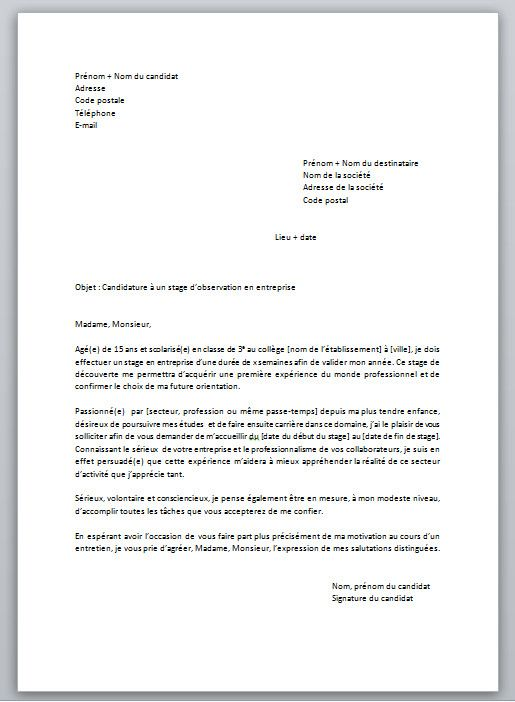 Lettre De Motivation Pour Un Stage De 3e Modele Et Conseils Modele Lettre De Motivation Lettre De Motivation Stage Lettre De Motivation