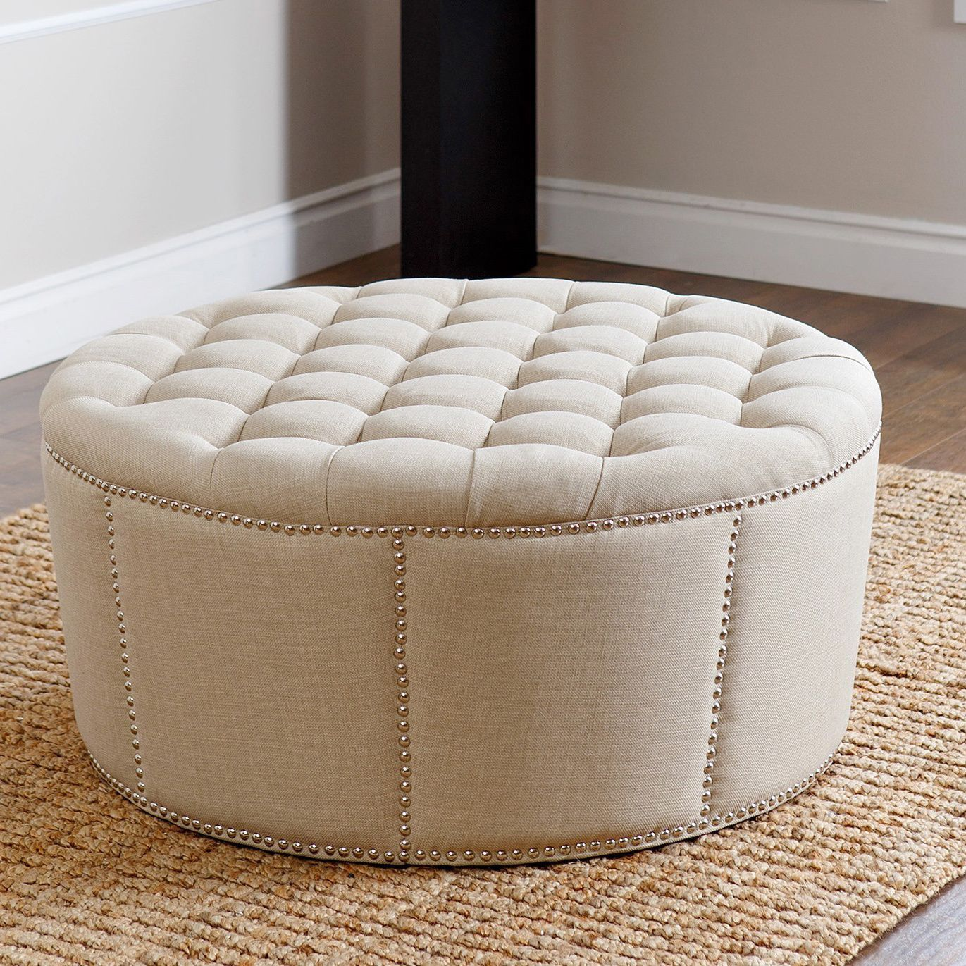 $359 - This gorgeous ottoman features a stylish nailhead trim in a ...