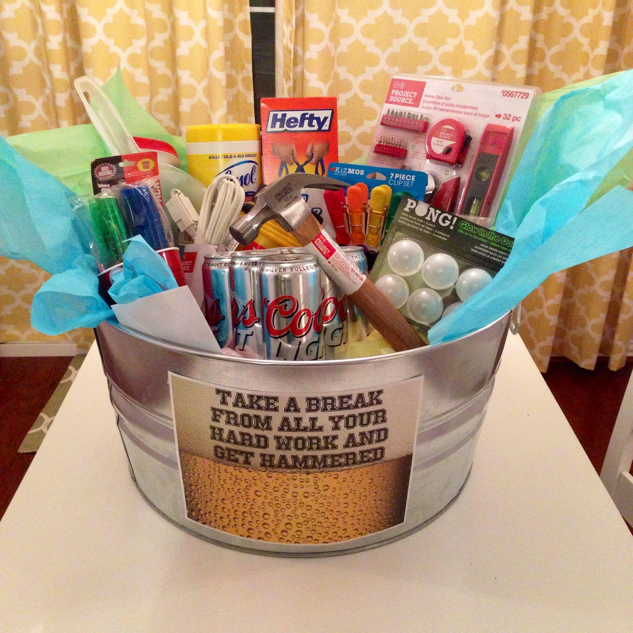 The housewarming basket I made my boyfriend