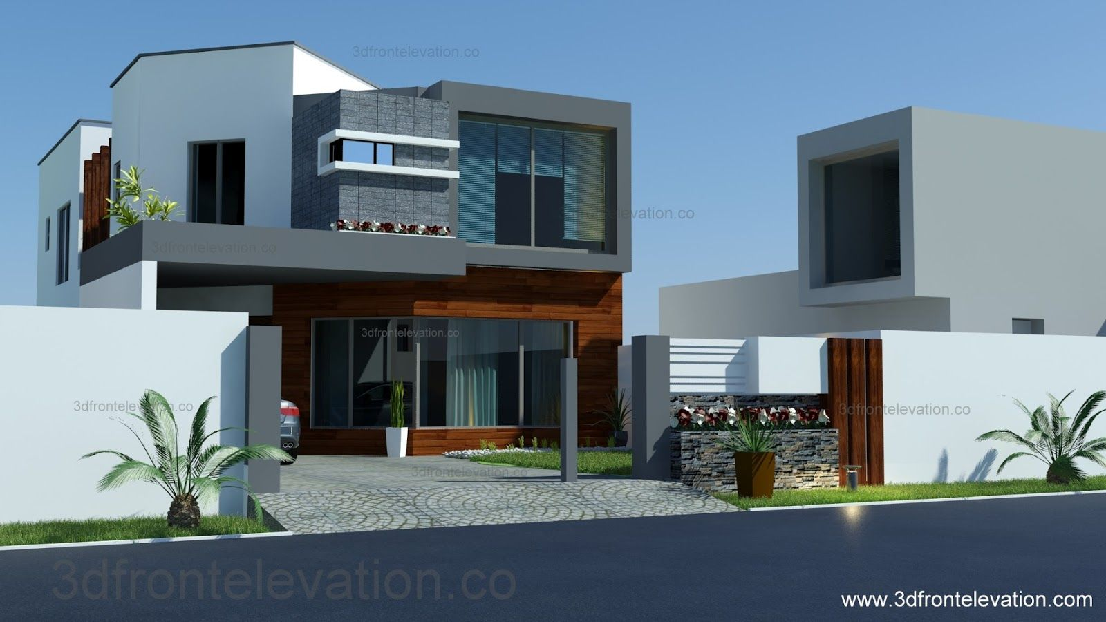 3d front 8 marla house plan layout for Home garden design in pakistan