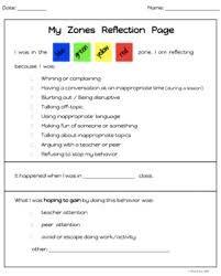 Image result for zones of regulation reflection sheet   Teacher