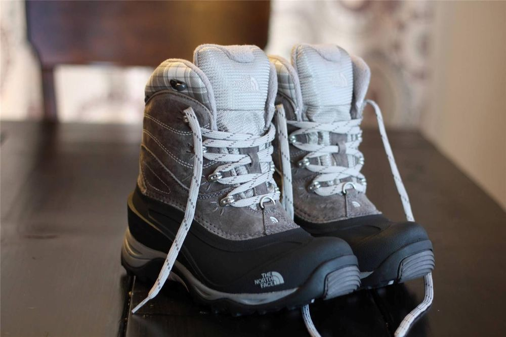 The North Face Chilkat Ii Winter Snow Boots In Gray White Womens 7 Waterproof Snow Boots North Face Chilkat Boots