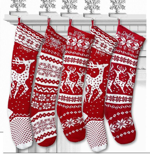 Knit Christmas Stockings Red White Reindeer Or Snowflake Etsy Christmas Stockings Christmas Knitting Knitted Christmas Stockings