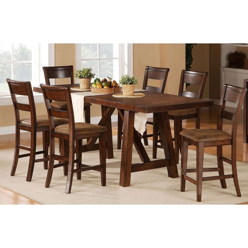 Burnished Brown 5 Piece Counter Height Dining Set Veca Counter Height Dining Sets Counter Height Dining Room Tables Counter Height Dining Table