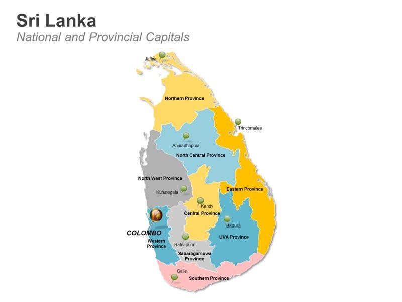 editable powerpoint map sri lanka map national provincial