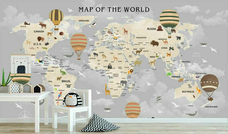 WORLD MAP MURAL WALL STICKERS Wall DECALS REMOVABLE VINYL WALLPAPER NEW W160