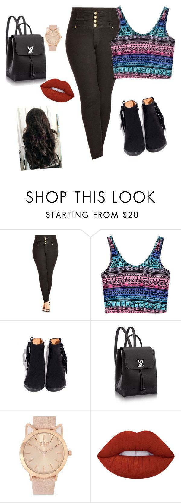 """1"" by adara-aijem on Polyvore featuring City Chic and Lime Crime"