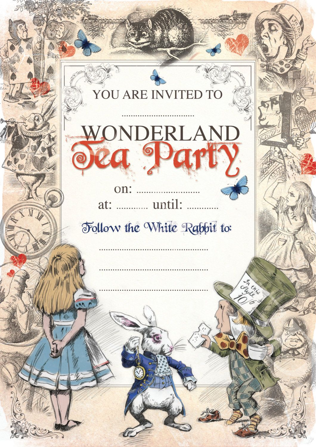 Alice in Wonderland Instant Download Birthday party Invite - Mad ...