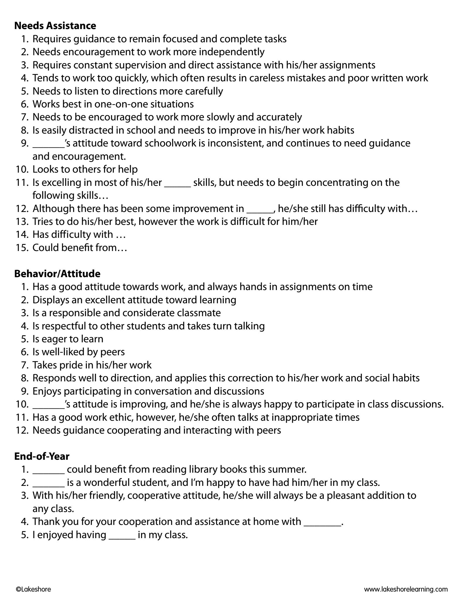 Report Card Comments Pdf Kindergarten Report Cards School Report Card Report Card Comments