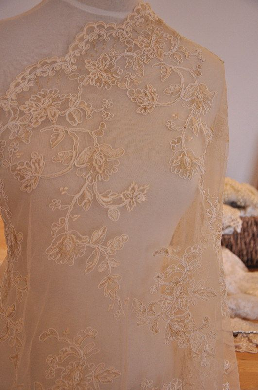Bridal Alencon Lace Fabric in Champagne Gold Thread by lacetime