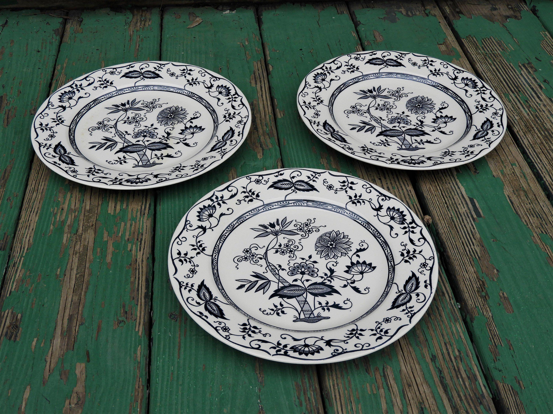 Vintage Blue Onion Plates 3