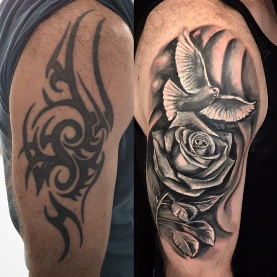 Rose And Dove Cover Up Tattoo By Henrique Limited Availability Revelation Tattoo Studios Northam Cover Up Tattoos Tattoo Sleeve Cover Up Arm Cover Up Tattoos