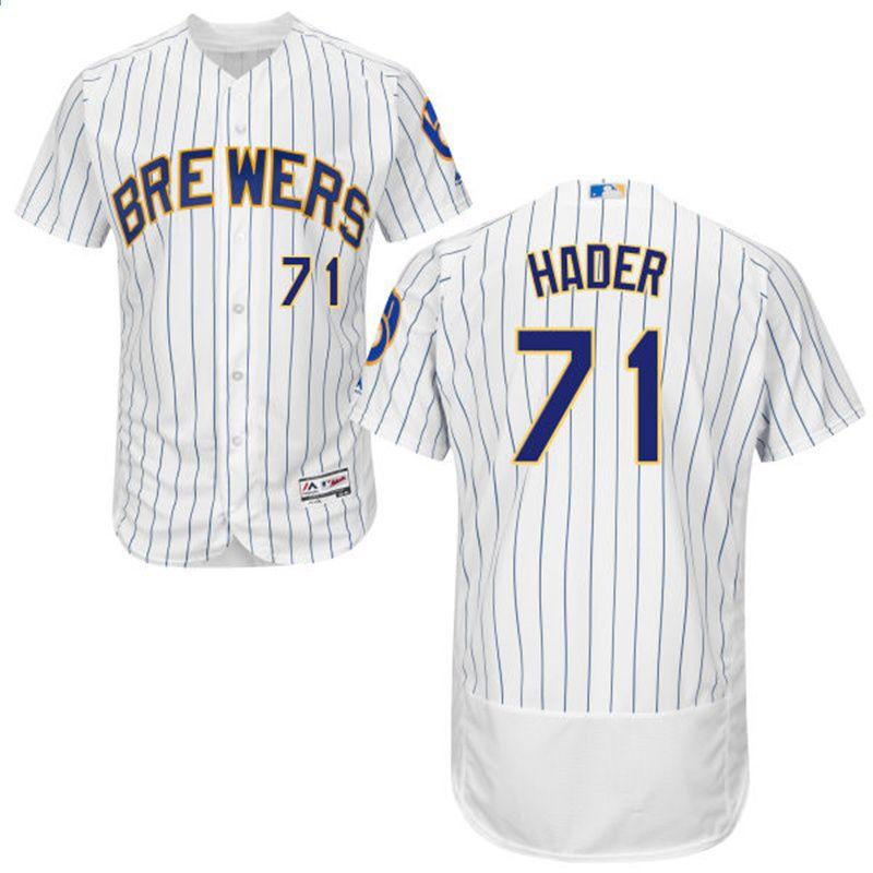 59b9783f466 MLB Men s Milwaukee Brewers Josh Hader Jersey   71 Majestic White Navy Gray  Kolekcja Flex Base