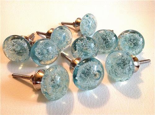 Aqua Blue Glass Bubble Cabinet Knobs Drawer Pulls Coastal Seconds ...