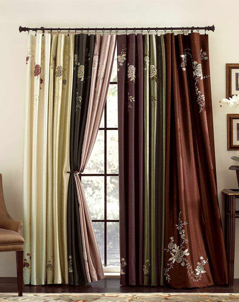 Asia Faux Silk Shimmer Fl Embroidered Panel Curtainworks