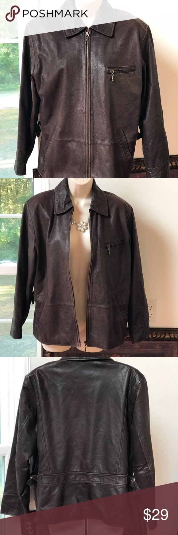 Newport News Easy Style Brown Leather Jacket M Brown Leather Jacket Leather Jacket Jackets