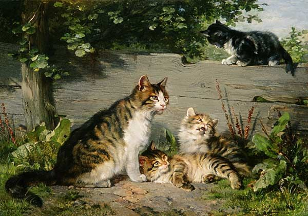 """Mother Cat with Three Boys"" -- by Julius Adam II (German, 1852-1913)"