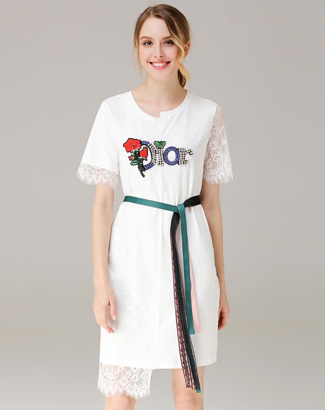 Adorewe vipme shift dressesdesigner sfeishow white lace paneled